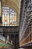 Techo y vitral góticos Reyes College Chapel masterpiece imagen de archivo