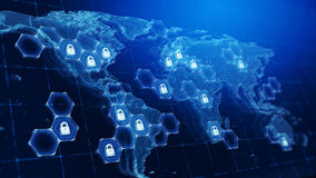 Techology world map and padlocks icons - Technology security concept background. Techology world map and padlocks icons -Technology security concept background Royalty Free Stock Images