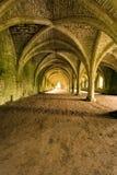 Techos saltados en abadía de las fuentes en Yorks del norte Imagen de archivo