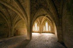 Techos saltados en abadía de las fuentes en Yorks del norte Imagen de archivo libre de regalías
