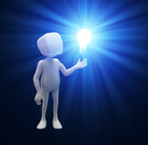 Techy with a light bulb. 3D character Techy with a light bulb Royalty Free Stock Photo