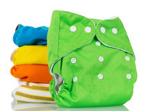 Tecidos eco-amigáveis modernos da pilha isolados no branco Foto de Stock Royalty Free