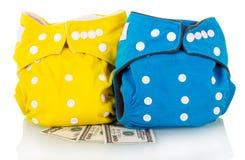 Tecidos modernos e dinheiro de pano isolados no branco Fotos de Stock Royalty Free