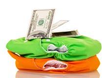 Tecidos modernos e dinheiro eco-amigáveis isolados no branco Imagens de Stock