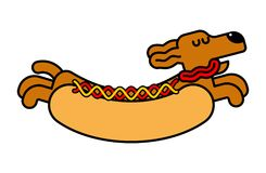 Teckel de hot-dog Hot dog d'animal de compagnie Illustration de vecteur Photo libre de droits