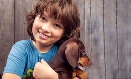 Teckel de race de chiot de chien et garçon heureux Image libre de droits