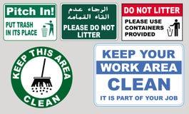 Tecken att uppmuntra renlighet stock illustrationer