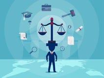 Tecken av advokaten som håller jämvikt av rättvisa vektor illustrationer