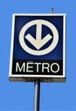 Tecken av den Montreal tunnelbanan Arkivfoto