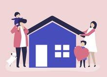 Tecken av en älska familj och deras husillustration stock illustrationer