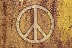 Tecken av fred på metall royaltyfri foto