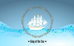 Tecken av konungen av havet royaltyfri illustrationer
