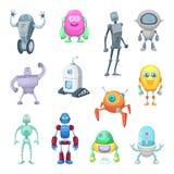 Tecken av roliga robotar i tecknad filmstil Vektormaskotuppsättning av androider och astronaut Arkivbilder