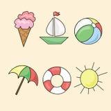 Tecken av sommar på en vit bakgrund Arkivfoto