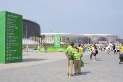 Tecken av sportsliga mötesplatser i Barra Olympic Park Arkivbild