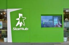 Tecken av StarHub längs fruktträdgårdvägen Arkivbilder