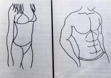 Tecken av symbolet för kvinna- och mantoalettwc Royaltyfria Bilder