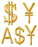 Tecken av valutor: yuan yen, australisk dollar Royaltyfria Bilder