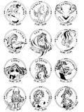12 tecken av zodiak i runda ramar vektor illustrationer