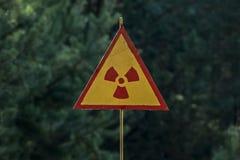 Tecken av zonen för uteslutande för utstrålningsfara I av Tjernobyl royaltyfri bild