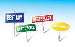 Tecken - bästa köp, bästa val, bästsäljare, rabatt Arkivfoton