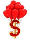 tecken 3D av dollaren med ballonger Arkivbild