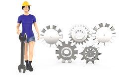 tecken 3d, lock och anseende för säkerhet för kvinnaarbetare bärande nära royaltyfri illustrationer