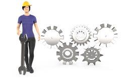 tecken 3d, lock och anseende för säkerhet för kvinnaarbetare bärande nära vektor illustrationer