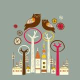 tecken dekorerad owl Fotografering för Bildbyråer
