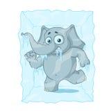tecken Elefant som frysas i is Stor samling av isolerade elefanter Vektor tecknad film Arkivbilder