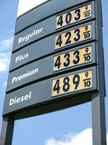 tecken för 4 bensinpris Fotografering för Bildbyråer