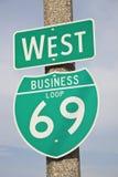 tecken för 69 huvudväg Royaltyfri Bild