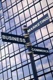 tecken för affärskommersmarknadsföring Arkivfoton