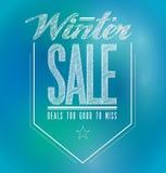 Tecken för affisch för blått- och klarteckenvinterförsäljning Royaltyfri Bild