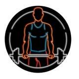 Tecken för afrikansk amerikanidrottsman nenLifting Barbell Oval neon stock illustrationer