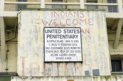 Tecken för Alcatraz ö, San Francisco, Kalifornien Royaltyfria Bilder
