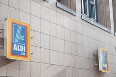 Tecken för Aldi SÃ ¼ D Fotografering för Bildbyråer