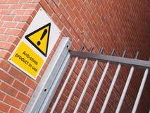 tecken för Anti--klättring målarfärgvarning Royaltyfria Foton