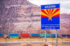 Tecken för Arizona tillståndsingång royaltyfria bilder