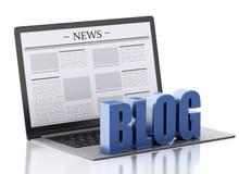 tecken för bärbar dator 3d och blogg begreppet märker många nyheterna det paper ordet Royaltyfri Fotografi
