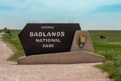 Tecken för Badlandsnationalparkingång royaltyfri bild
