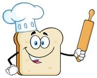 Tecken för bagareBread Slice Cartoon maskot med kocken Hat Holding en kavel royaltyfri illustrationer