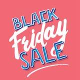 Tecken för Black Friday Calligraphic bokstäveraffisch på rosa bakgrund Mall för etikettdesignvektor - försäljningsrabattbaner Arkivfoto