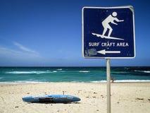 Tecken för bränninghantverkområde på den Bronte stranden, Australien Royaltyfria Bilder