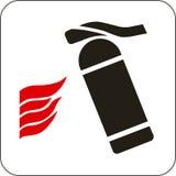 Tecken för brandeldsläckare stock illustrationer