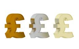 Tecken för brittiskt pund - tre ädelmetaller Royaltyfria Foton