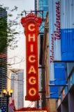 Tecken för Chicago teaterneon Arkivbilder