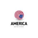 Tecken för cirkel för USA vektor ovanligt abstrakt USA isolerade logo på det vita bakgrundsemblemet självständighet royaltyfri illustrationer