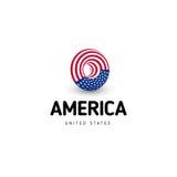 Tecken för cirkel för USA vektor ovanligt abstrakt USA isolerade logo på det vita bakgrundsemblemet självständighet vektor illustrationer