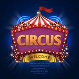Tecken för cirkuskarnevalvektor med ramen för ljus kula royaltyfri illustrationer